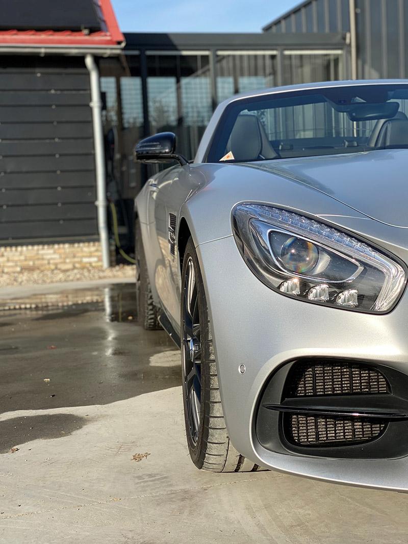 carwrap mercedes gtc amg satin white aluminium